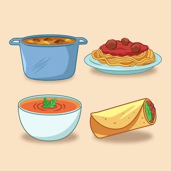 편안한 음식 스파게티와 스프
