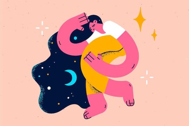 편안한 잠자는 달콤한 꿈 개념