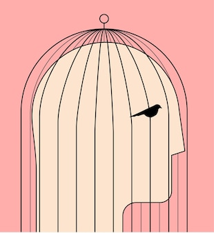 Comfort zone or self limit or inner prison psychological concept