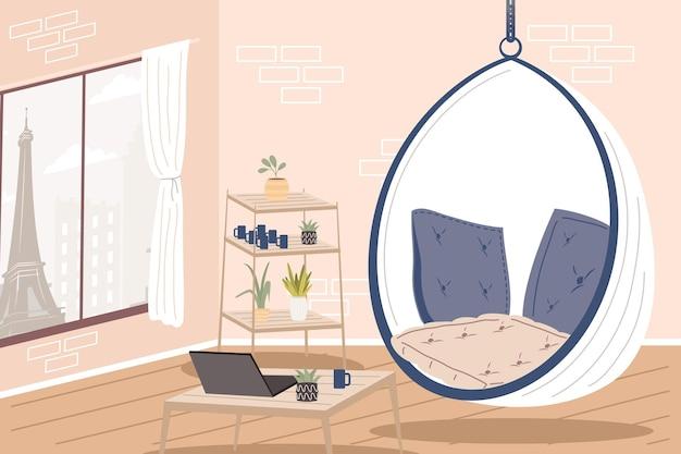 Удобное и домашнее кресло-качалка в комнате