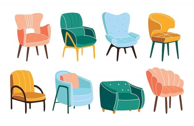 快適なアームチェアの束。スタイリッシュで快適な家具のコレクション。白で隔離されるトレンディなスカンジナビアの椅子のセット。シンプルなファッショナブルな家具要素のセット。