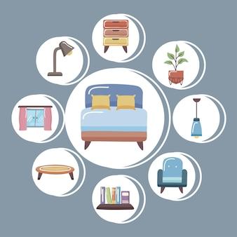편안한 침대와 홈 아이콘 모음