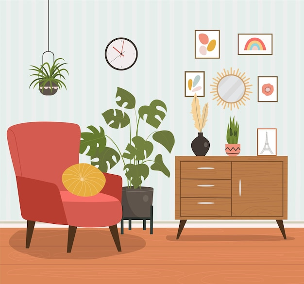 Comfortable chair, bookcase and house plants.