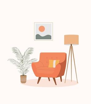 편안한 의자, 램프 및 집 식물. 스칸디나비아 인테리어. 벡터 평면 만화 일러스트 레이 션