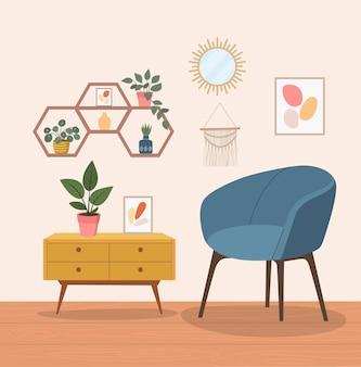 Удобное кресло, спящая кошка и комнатные растения.