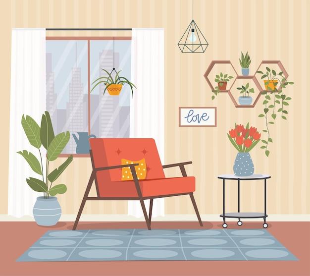 Удобный стул, окна и комнатные растения.