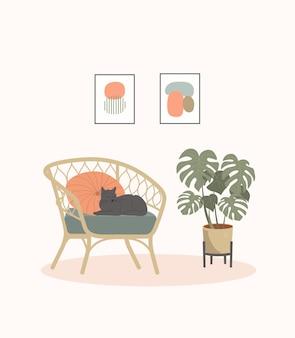 고양이, 그림, 집 식물이 있는 편안한 의자. 스칸디나비아 인테리어. 벡터 평면 만화 일러스트 레이 션