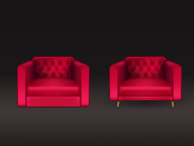 Comfortable chesterfield, lawson, club chairs with red leather, fabric upholstery, wooden legs 3d realistic  illustration isolated on black. modern home furniture, house interior design element