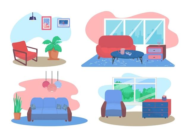 편안한 소파는 거실 가구 디자인 컨셉트 세트 라운지 거실 평면 벡터 병을 휴식을 취합니다.
