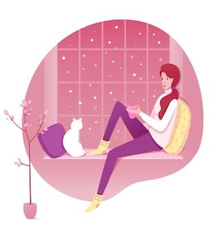 Набор иллюстраций удобный домашний отдых, молодая женщина, сидящая на подоконнике мультипликационный персонаж. уютные аксессуары для зимней атмосферы.