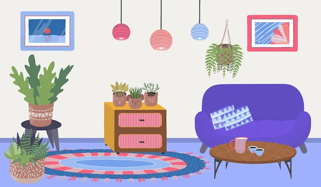 Comfortable house apartment room place cozy home plants relax cabinet with wooden table flat vector ...