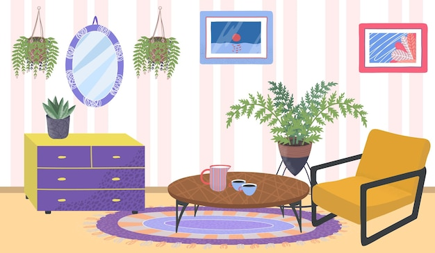 Comfortable house apartment room place, green organic cozy home plants, relax cabinet flat vector illustration, vintage style mirror. old fashion retro apartment homemade flower design.