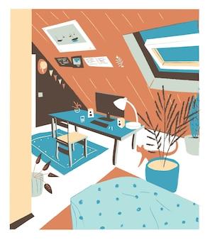트렌디 한 스칸디나비아 휘게 스타일로 가구가 비치 된 편안한 현대식 캐비닛, 맨 사드 또는 다락방은 벽 그림과 화분으로 장식되어 있습니다. 편평한 화려한 손으로 그린 그림입니다.