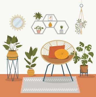 Удобное кресло из ротанга и комнатные растения. векторные иллюстрации шаржа плоский стиль
