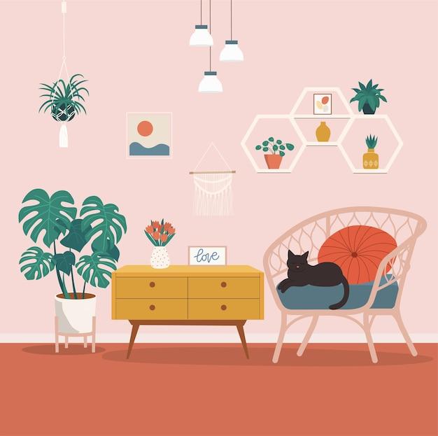 Удобное кресло из ротанга и комнатные растения