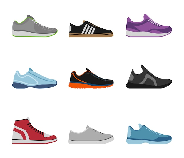 Коллекция удобной обуви со спортивными кроссовками