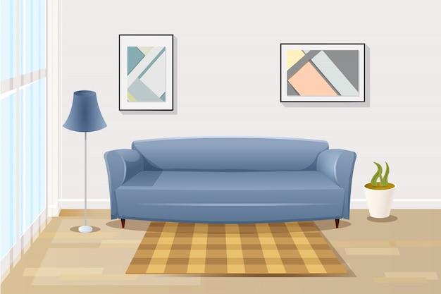 Удобный диван в гостиной мультфильм вектор