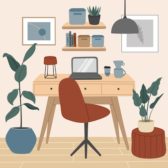 Comfortable space for work and study, modern scandinavian interior, cozy home office with houseplants.