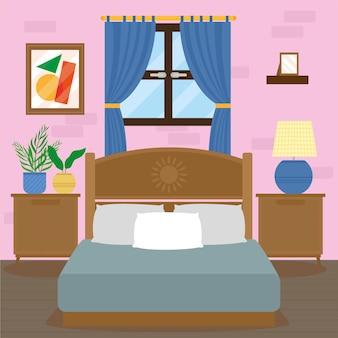 창문이 있는 편안한 집 침실