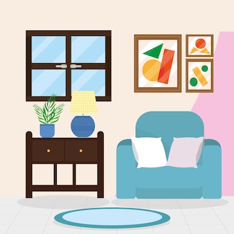 파란색 소파가 있는 편안한 집 거실 장면