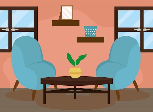 ソファとテーブルのある快適なハウスラウンジ