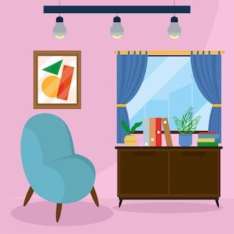 Comfy house side with blue sofa
