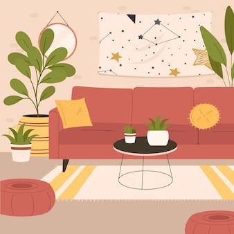 Уютный интерьер гостиной, сидя на кресле и пуфике с комнатными растениями, растущими в горшках