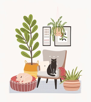Comfy living room interior with cats sitting on armchair and ottoman, houseplants growing in pots and home decorations