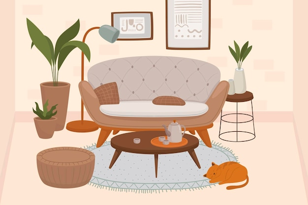 Comfy living room interior with cats sitting on armchair and ottoman and houseplants growing in pots
