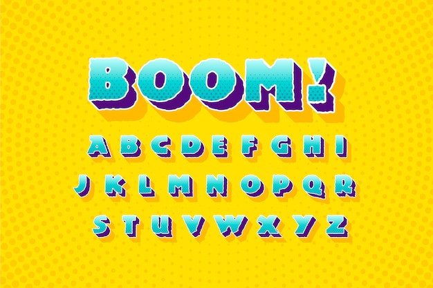 Comic 3d alphabet from a to z design