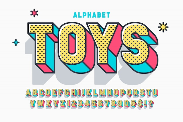 Comic 3d display font design, alphabet, letters and numbers