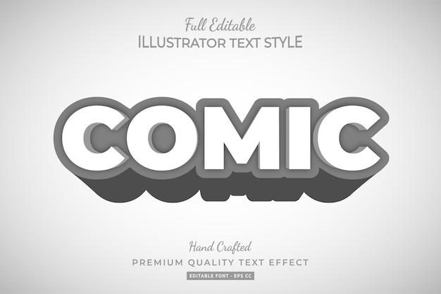 Comic 3d text style effect premium vector