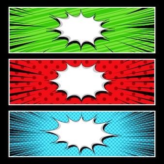 Comic abstract horizontal banners