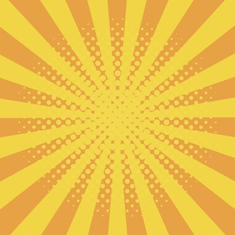 Comic background with halftone effect and sunburst comic book elements with dots and sunray
