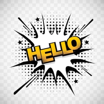 Comic background with the word  hello
