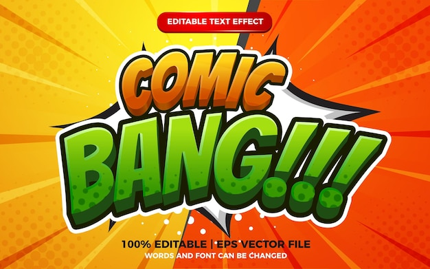 Comic bang 3d cartoon style editable text effect template on halftone background