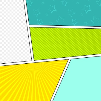 Comic blank layout template pop-art style.