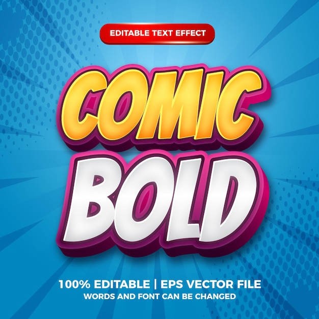 Comic bold editable text style effect template