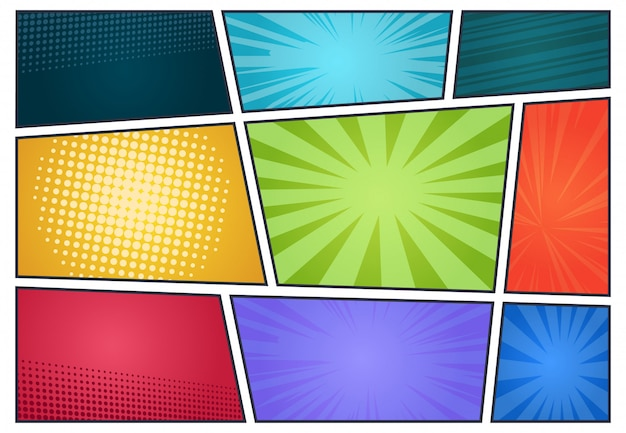 Comic book background. pop art retro page style, halftone cartoon effect, comics frames cover.