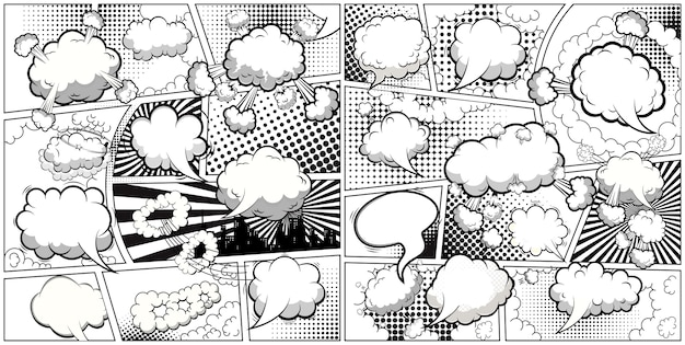 연설 거품과 라인으로 나눈 만화 흑백 페이지 템플릿. .