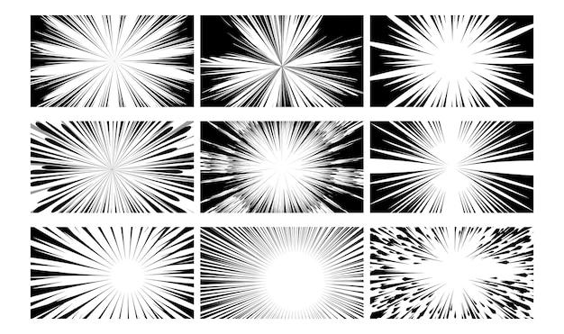 コミックブック。黒と白のテクスチャアクションレイ爆発。抽象的な白黒のレイアウト図。ラジアルコミックブックスピードラインケラレカバーセット。強力な光線を使って額縁をスケッチする
