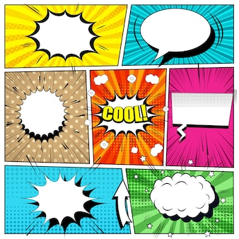 Comic book bright background with speech bubbles, arrow, blots, sound, rays and different halftone effects