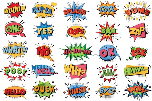 Comic book bubbles doodle set. collection of cartoon emotional color explosions funny comical speech clouds comics words thinking dream bubbles text conversation  illustration