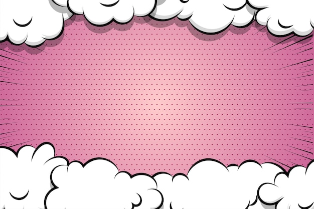 Comic book cartoon puff cloud speech bubble for text pink color
