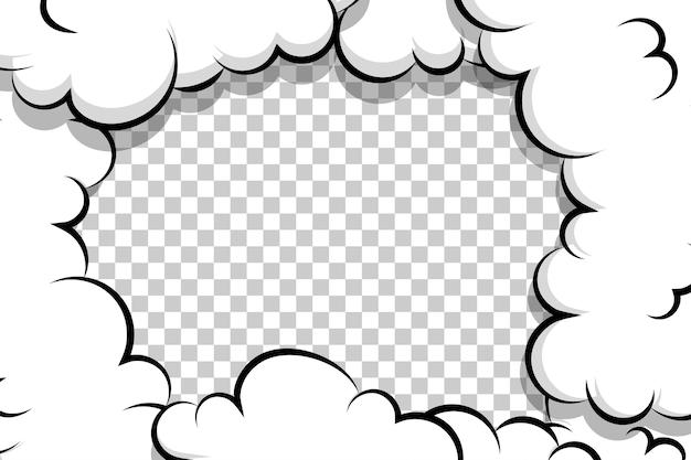 텍스트 만화 만화 퍼프 구름 템플릿 팝 아트