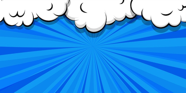 텍스트에 대 한 만화 만화 연설 거품 텍스트 템플릿에 대 한 만화 퍼프 구름 파란색 배경