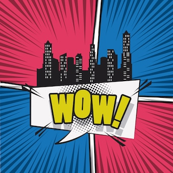 Comic book city with speech cartoon