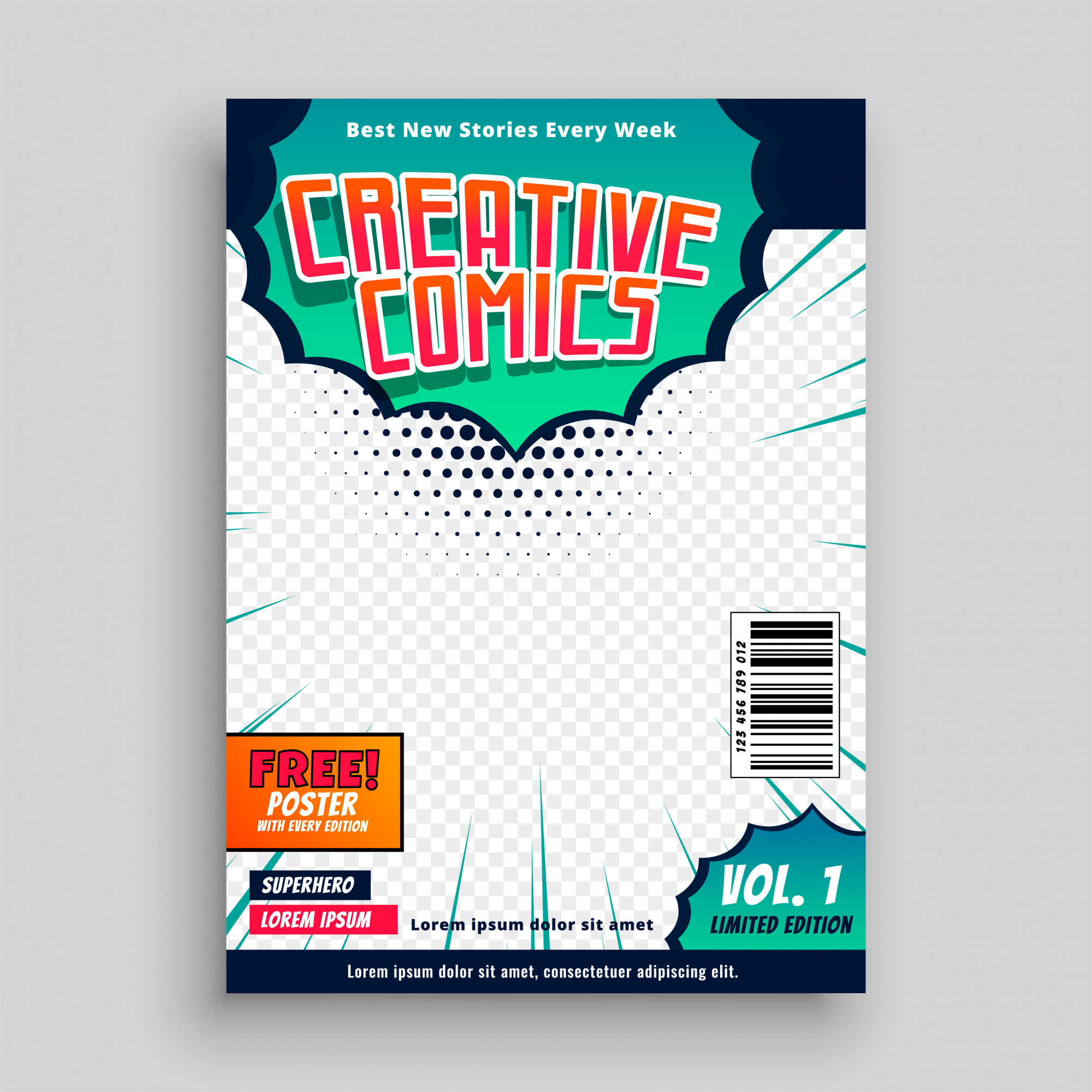 Comic book cover template design