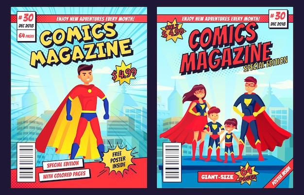 Comic book cover with super hero man and family characters