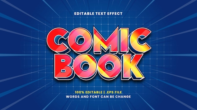 Comic book editable text effect in modern 3d style